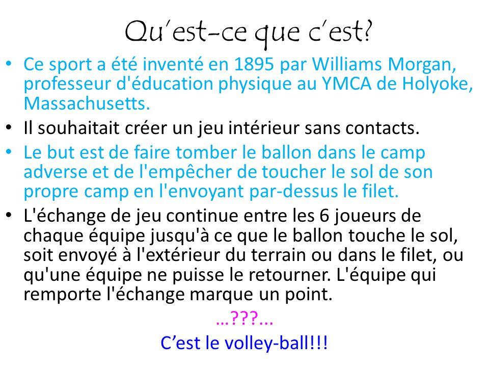 Qu'est-ce que c'est Ce sport a été inventé en 1895 par Williams Morgan, professeur d éducation physique au YMCA de Holyoke, Massachusetts.