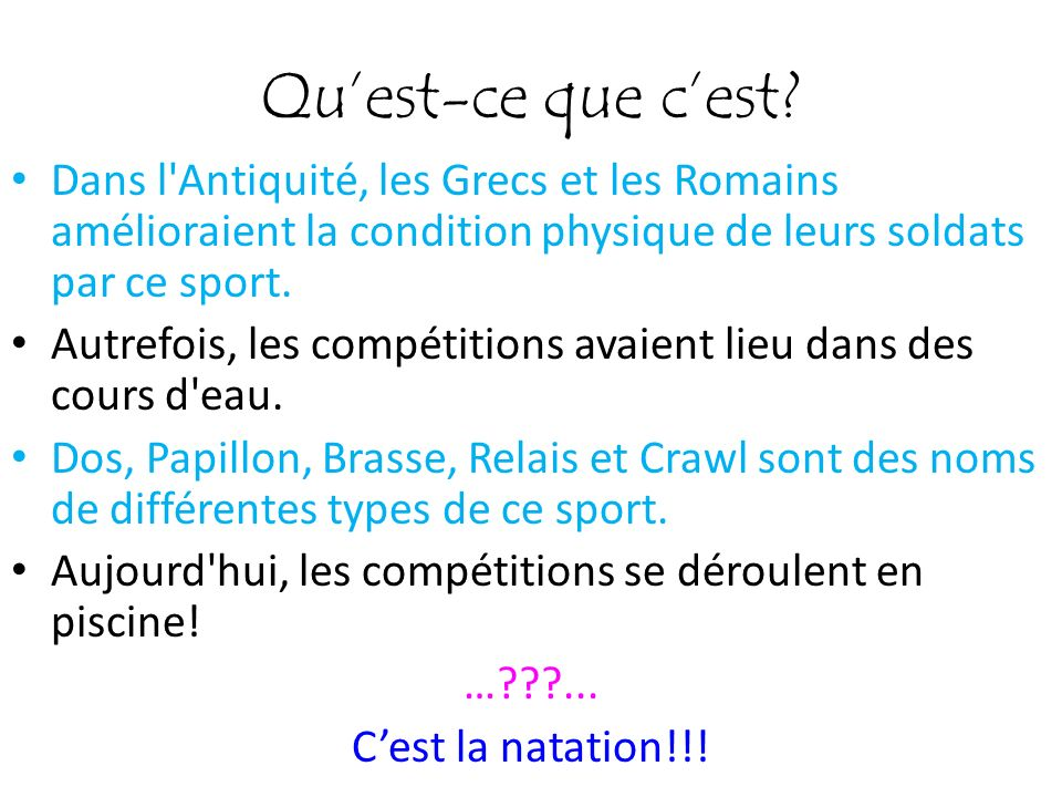 Qu'est-ce que c'est Dans l Antiquité, les Grecs et les Romains amélioraient la condition physique de leurs soldats par ce sport.