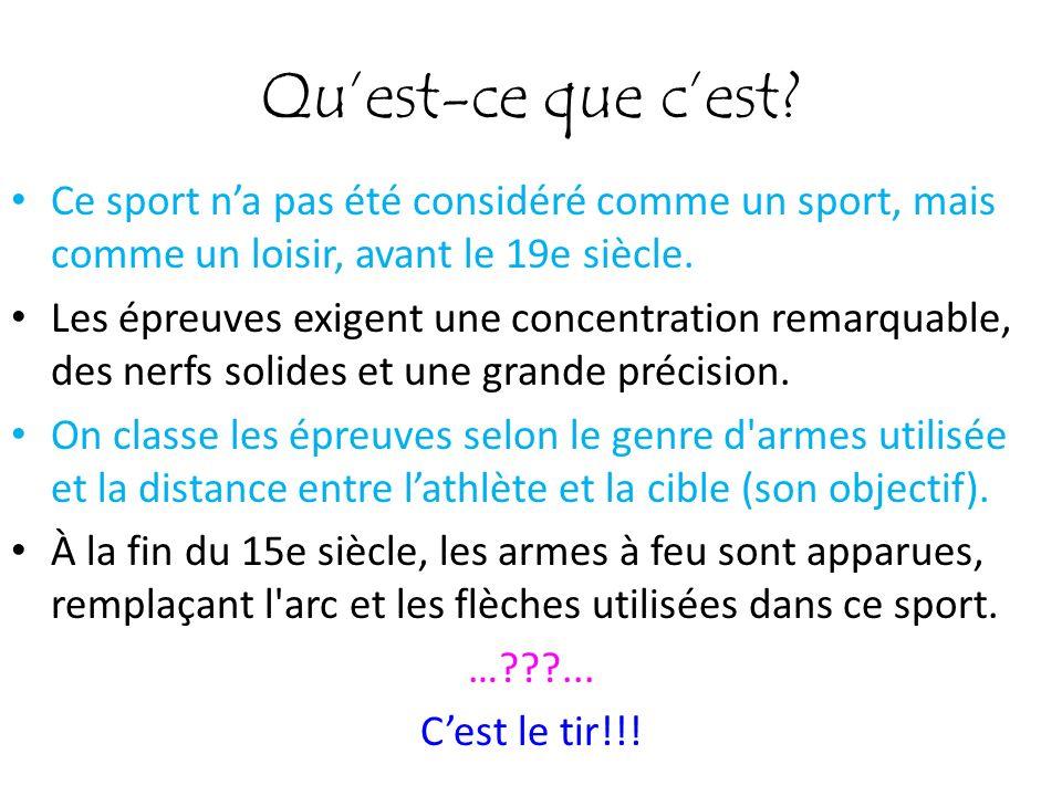 Qu'est-ce que c'est Ce sport n'a pas été considéré comme un sport, mais comme un loisir, avant le 19e siècle.
