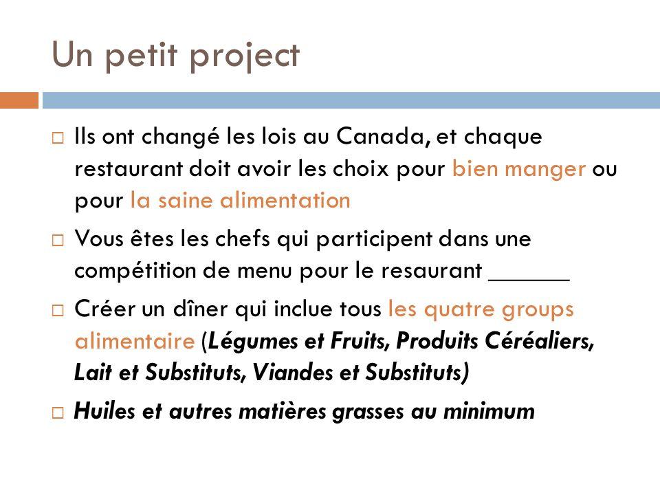 Un petit project Ils ont changé les lois au Canada, et chaque restaurant doit avoir les choix pour bien manger ou pour la saine alimentation.