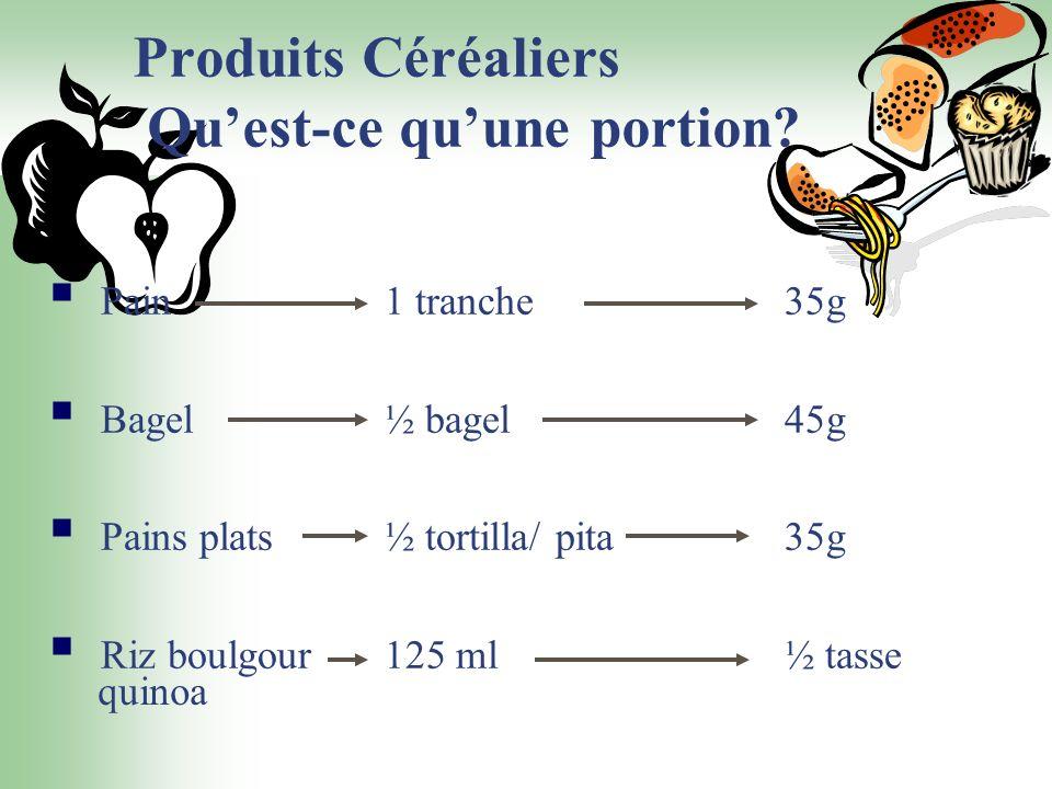 Produits Céréaliers Qu'est-ce qu'une portion