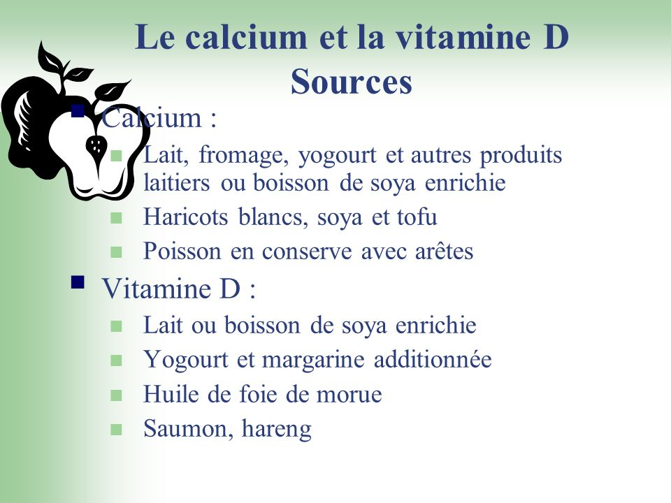 Le calcium et la vitamine D Sources