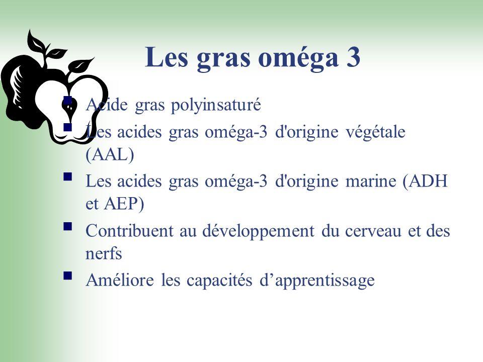 Les gras oméga 3 Acide gras polyinsaturé