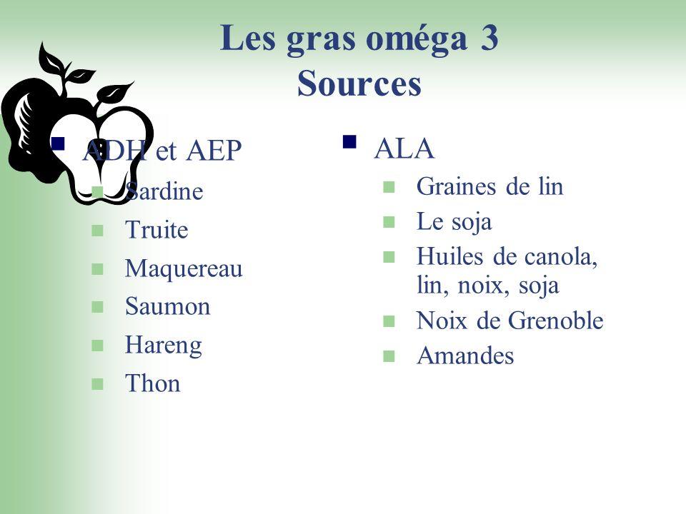 Les gras oméga 3 Sources ADH et AEP ALA Sardine Truite Maquereau