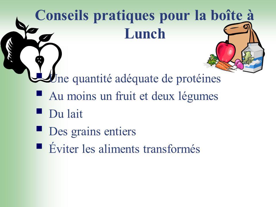 Conseils pratiques pour la boîte à Lunch