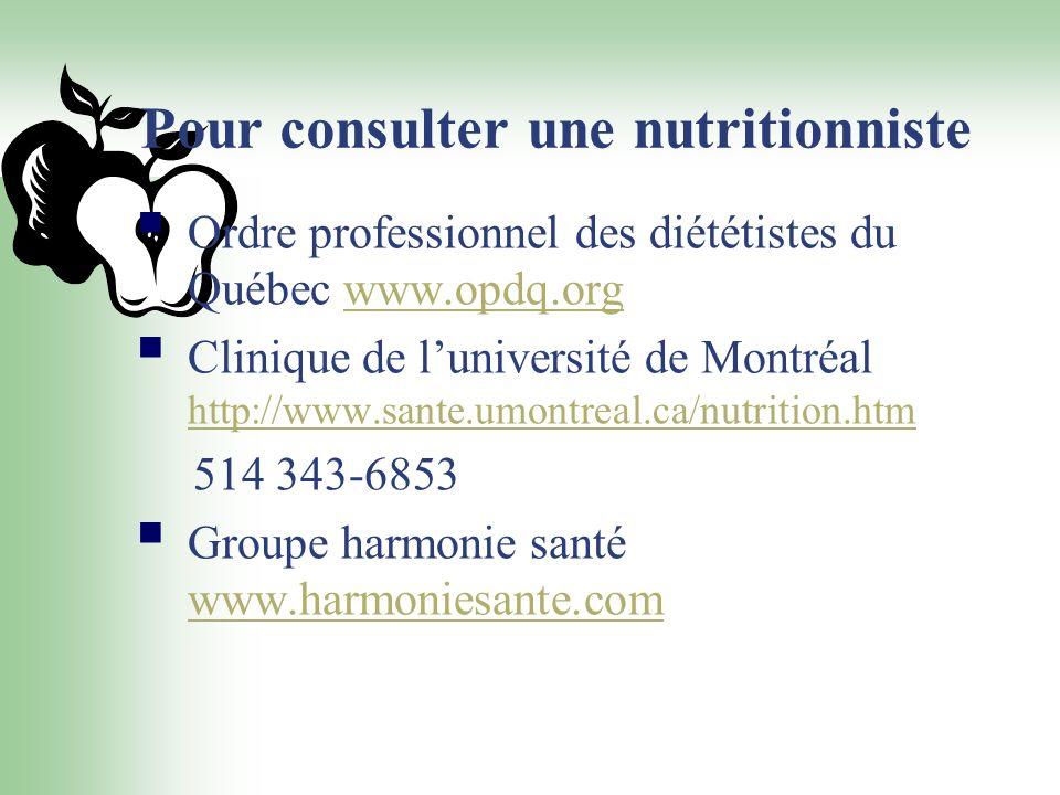 Pour consulter une nutritionniste
