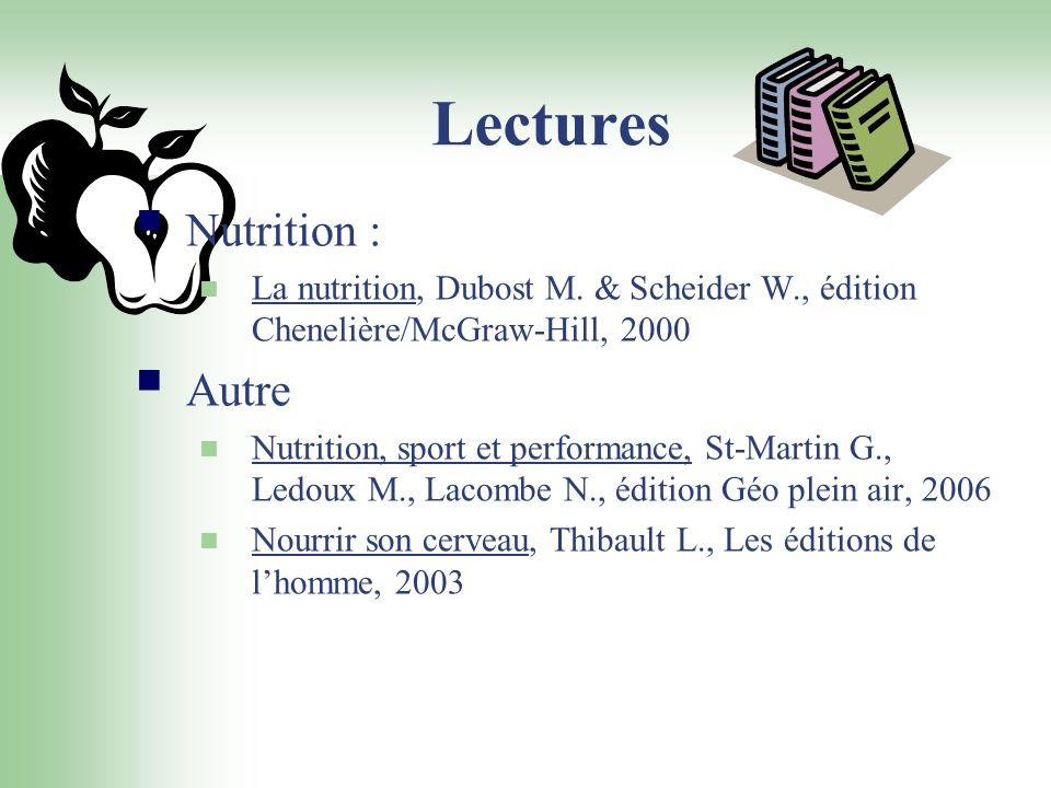 Lectures Nutrition : Autre