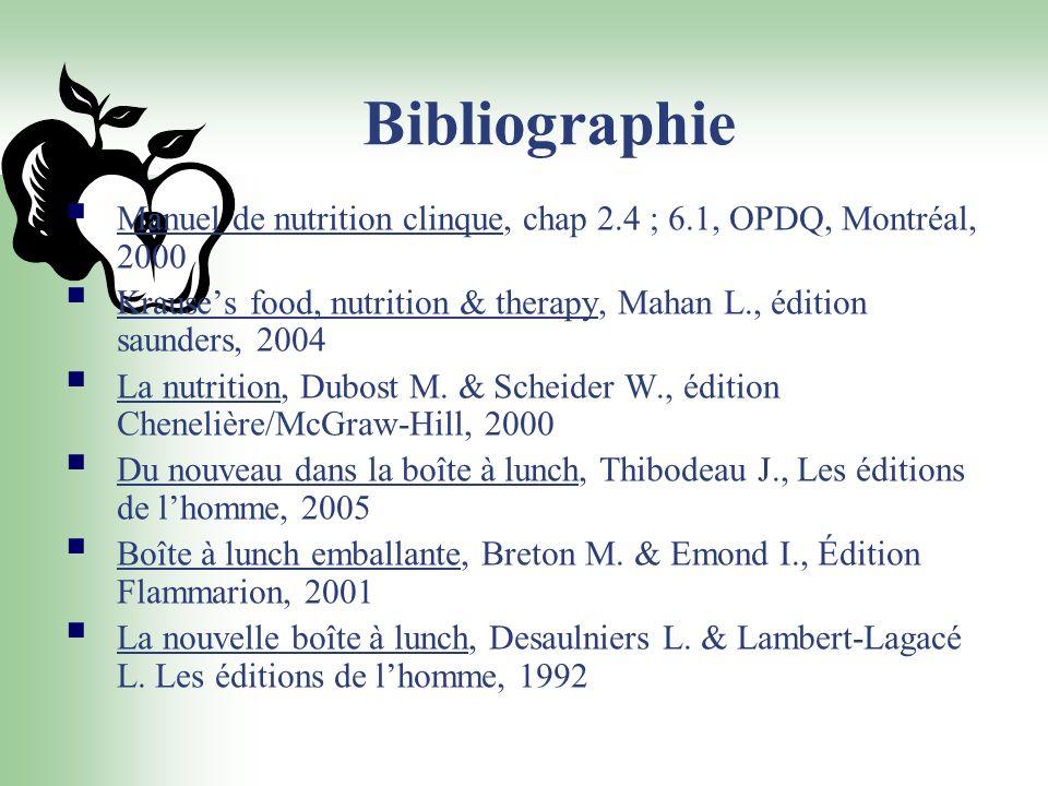 Bibliographie Manuel de nutrition clinque, chap 2.4 ; 6.1, OPDQ, Montréal, 2000.