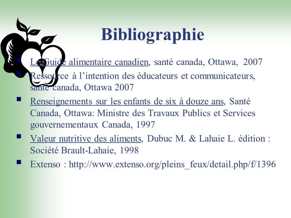 Bibliographie Le Guide alimentaire canadien, santé canada, Ottawa, 2007.