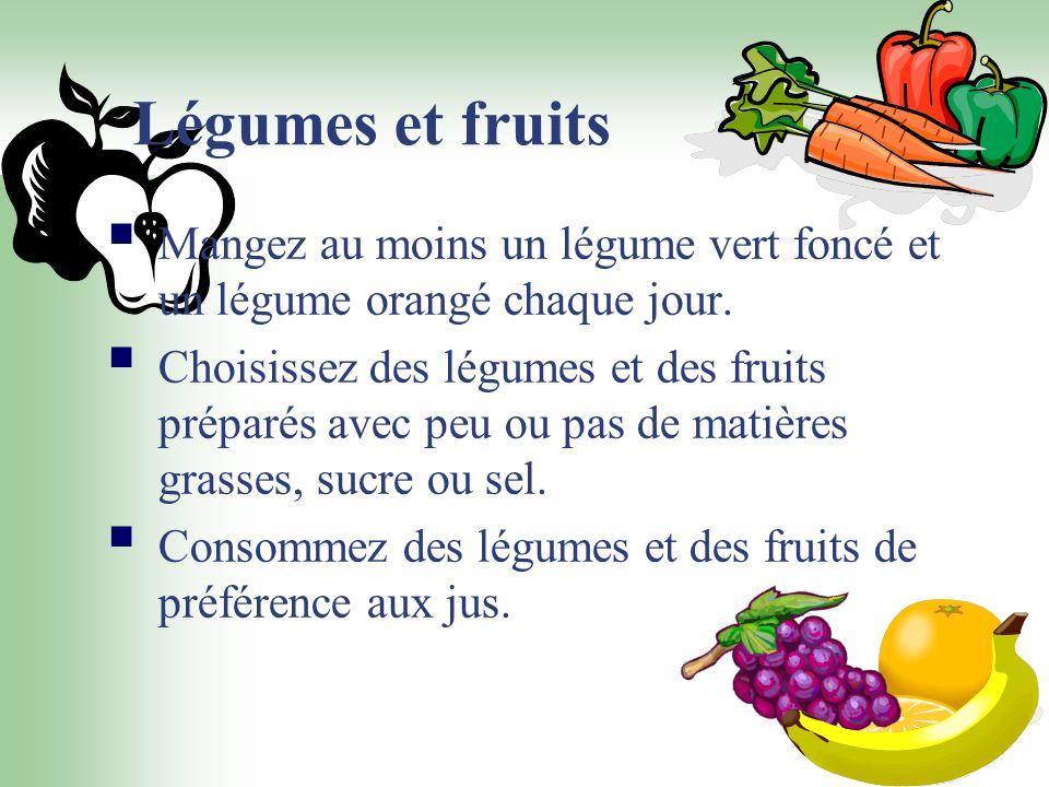 Légumes et fruits Mangez au moins un légume vert foncé et un légume orangé chaque jour.