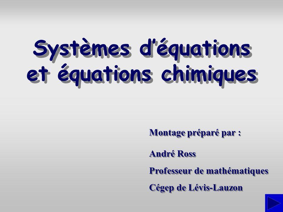 Systèmes d'équations et équations chimiques
