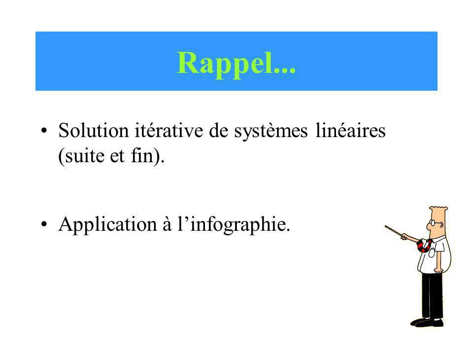 Rappel... Solution itérative de systèmes linéaires (suite et fin).