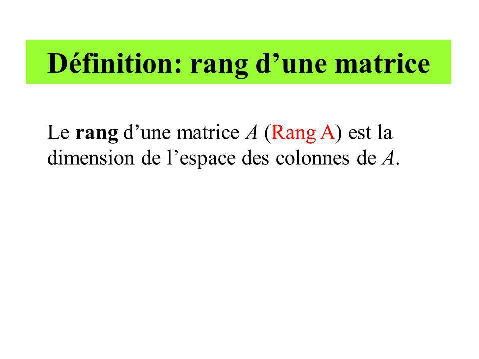 Définition: rang d'une matrice