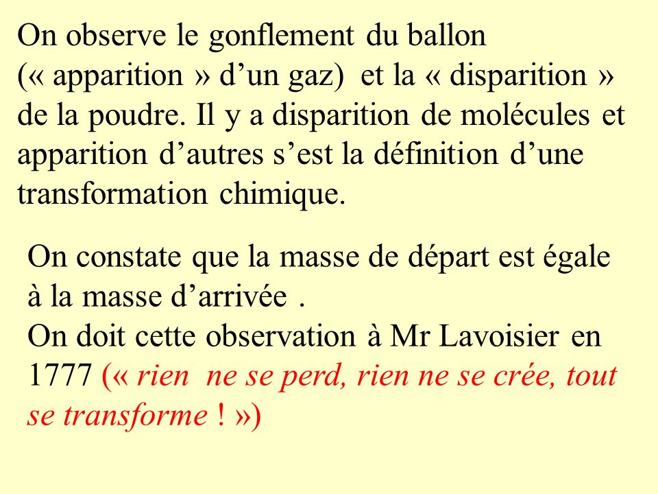 On observe le gonflement du ballon (« apparition » d'un gaz) et la « disparition » de la poudre. Il y a disparition de molécules et apparition d'autres s'est la définition d'une transformation chimique.