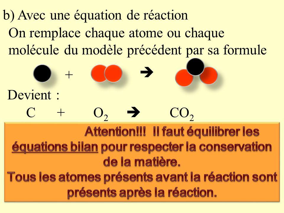 b) Avec une équation de réaction