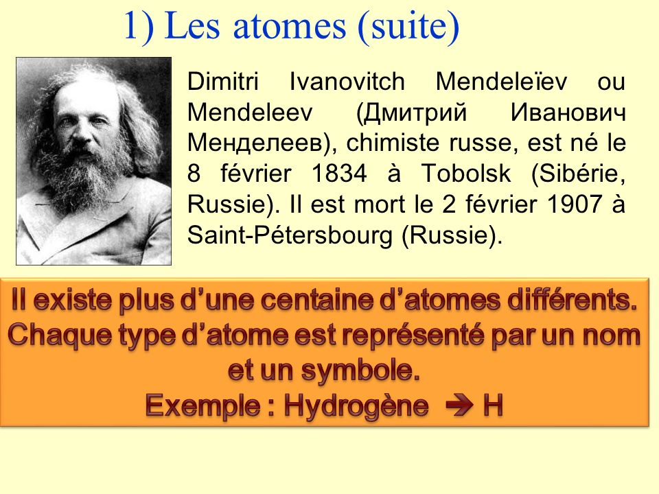 1) Les atomes (suite)