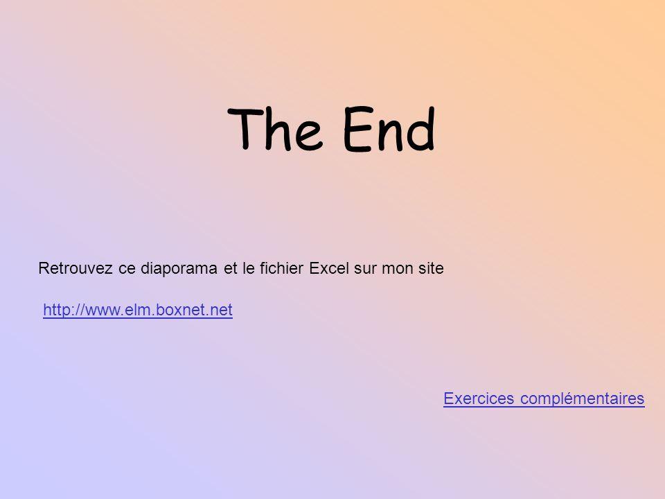 The End Retrouvez ce diaporama et le fichier Excel sur mon site