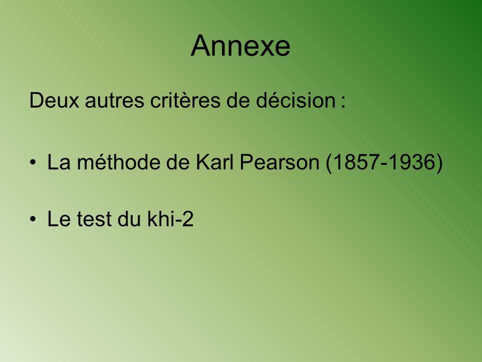 Annexe Deux autres critères de décision :