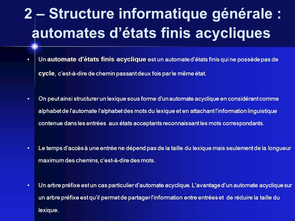 2 – Structure informatique générale : automates d'états finis acycliques