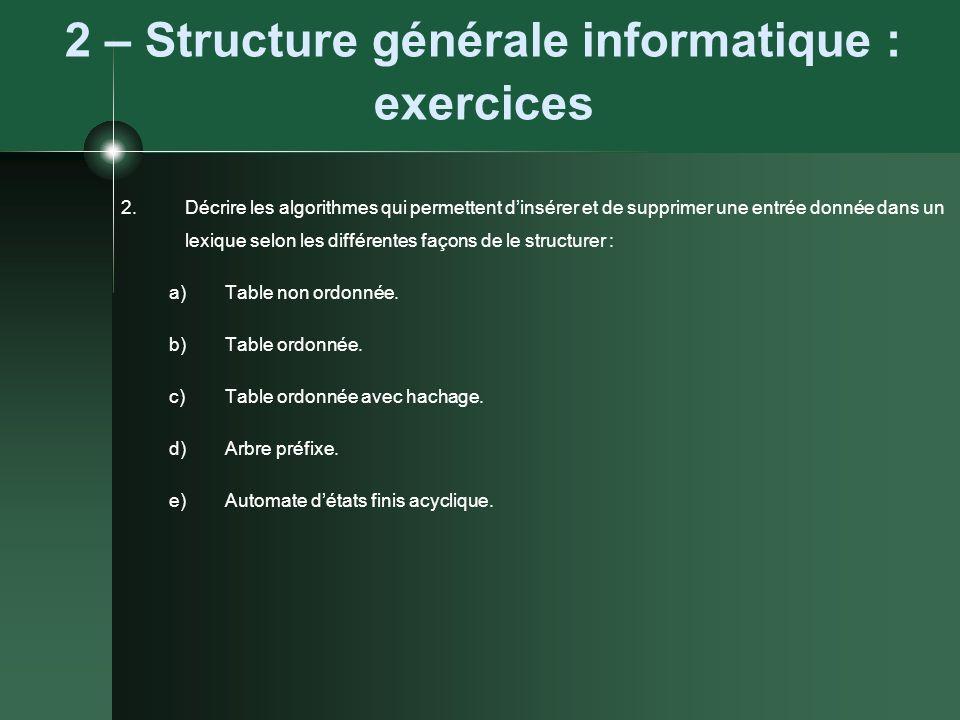2 – Structure générale informatique : exercices