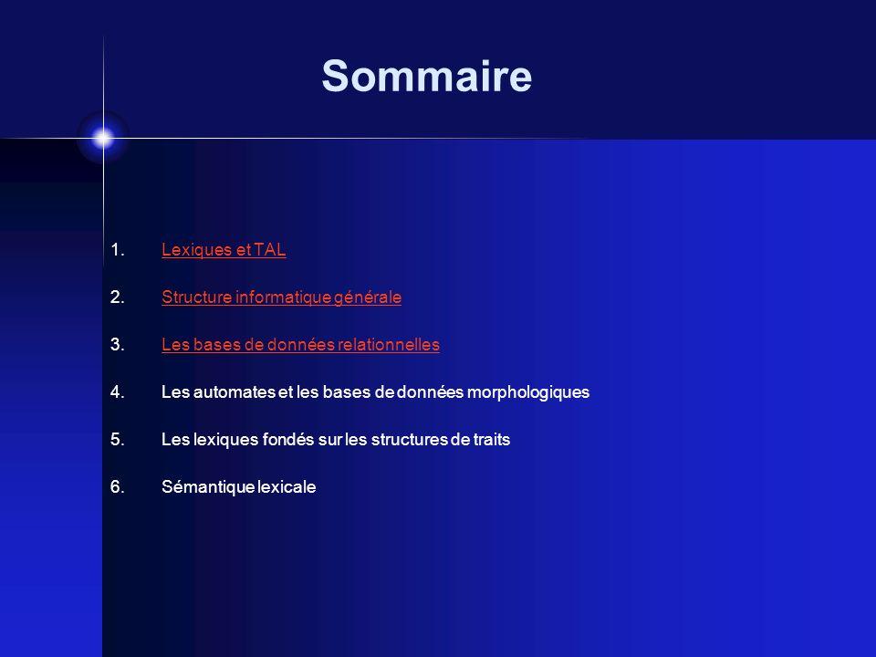 Sommaire Lexiques et TAL Structure informatique générale