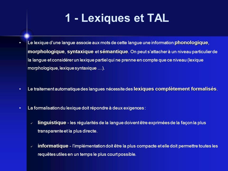1 - Lexiques et TAL