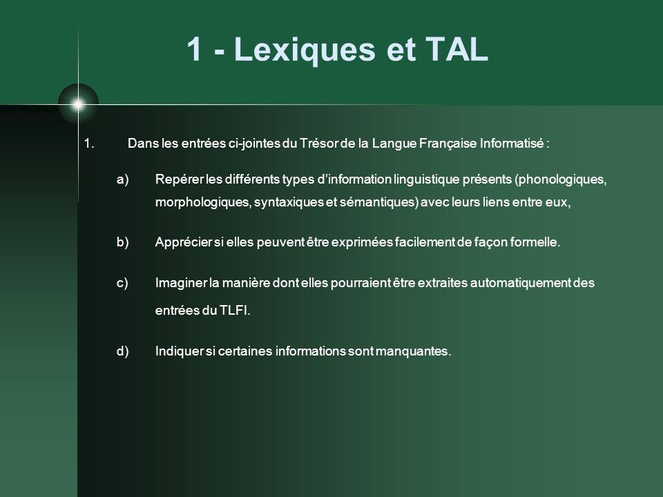 1 - Lexiques et TAL Dans les entrées ci-jointes du Trésor de la Langue Française Informatisé :