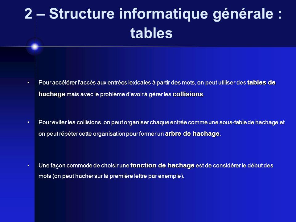 2 – Structure informatique générale : tables