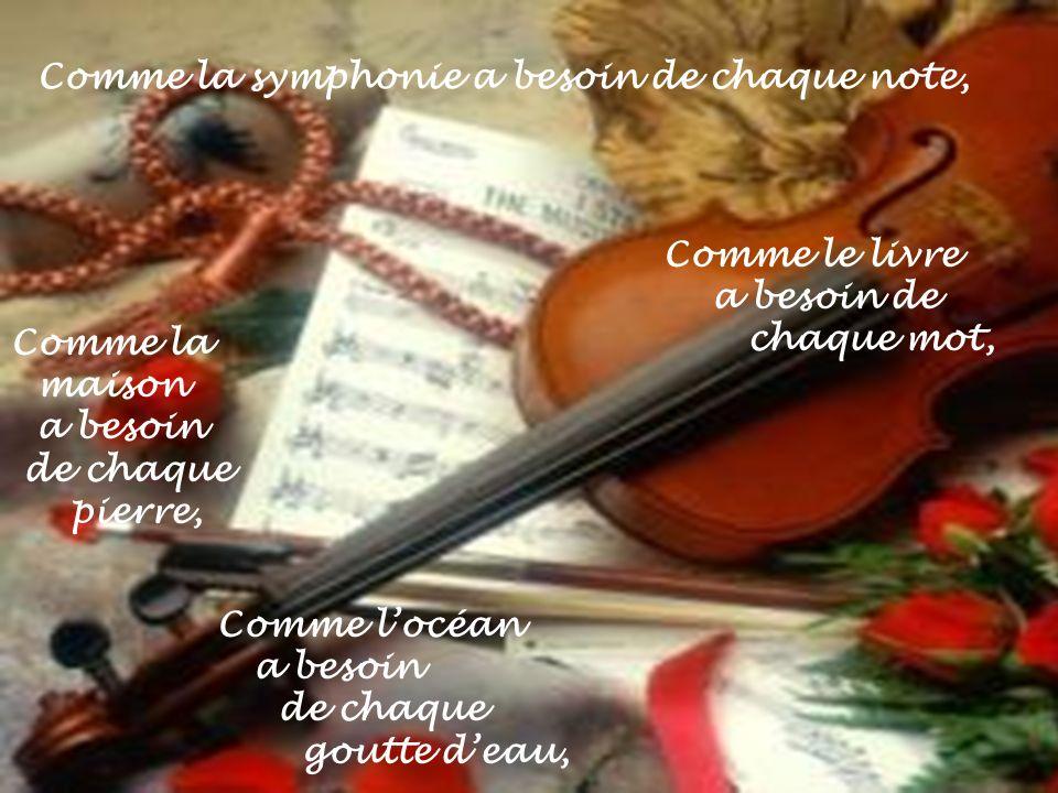 Comme la symphonie a besoin de chaque note,