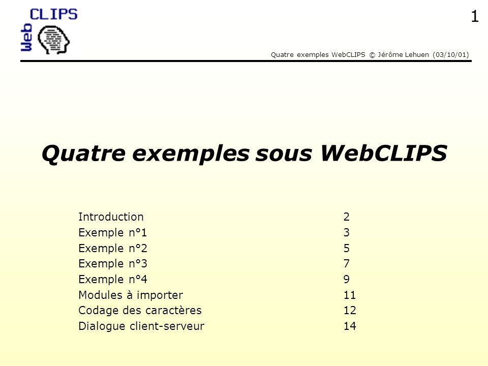 Quatre exemples sous WebCLIPS