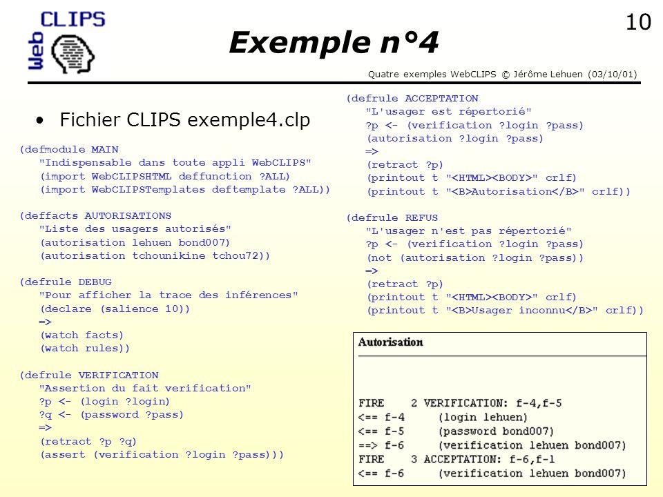 Exemple n°4 Fichier CLIPS exemple4.clp (defrule ACCEPTATION