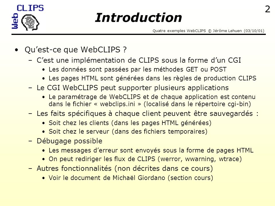 Introduction Qu'est-ce que WebCLIPS