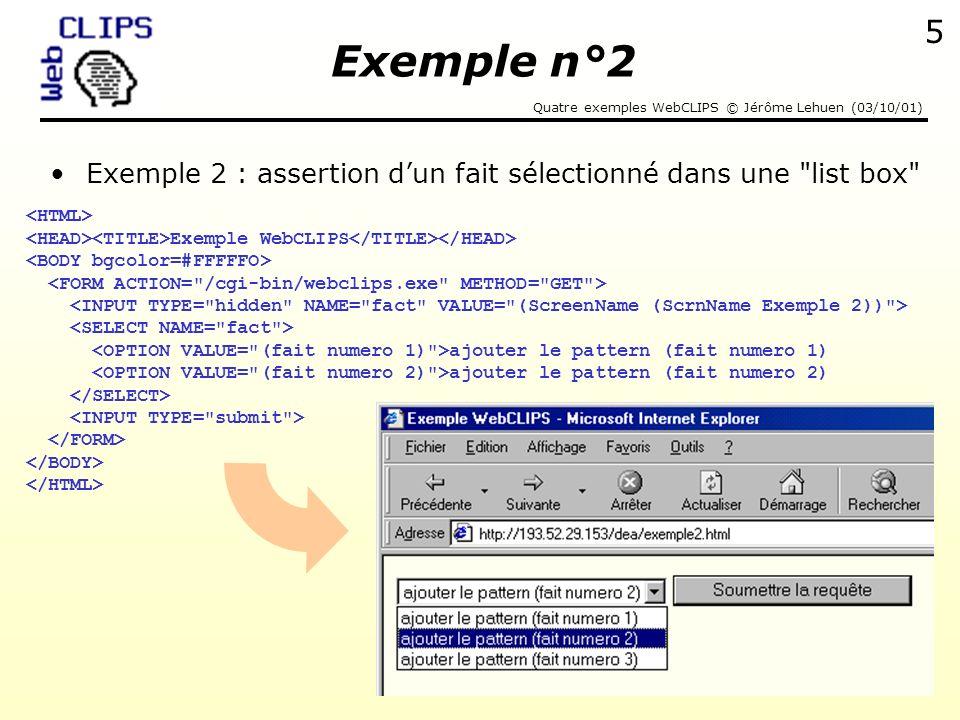 Exemple n°2 Exemple 2 : assertion d'un fait sélectionné dans une list box <HTML> <HEAD><TITLE>Exemple WebCLIPS</TITLE></HEAD>