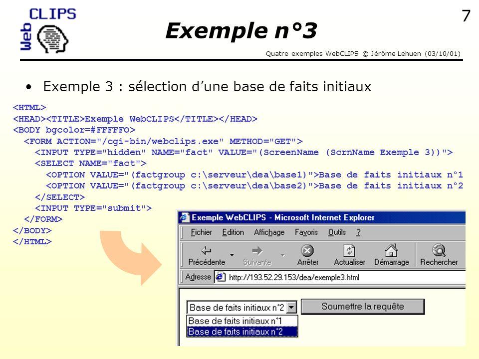 Exemple n°3 Exemple 3 : sélection d'une base de faits initiaux