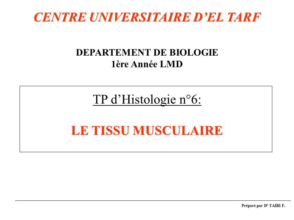 CENTRE UNIVERSITAIRE D'EL TARF DEPARTEMENT DE BIOLOGIE 1ère Année LMD TP d'Histologie n°6: LE TISSU MUSCULAIRE