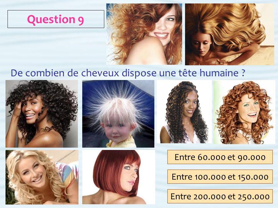Question 9 De combien de cheveux dispose une tête humaine