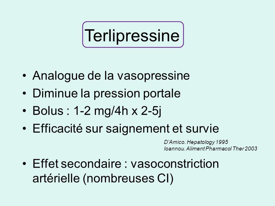 Terlipressine Analogue de la vasopressine Diminue la pression portale