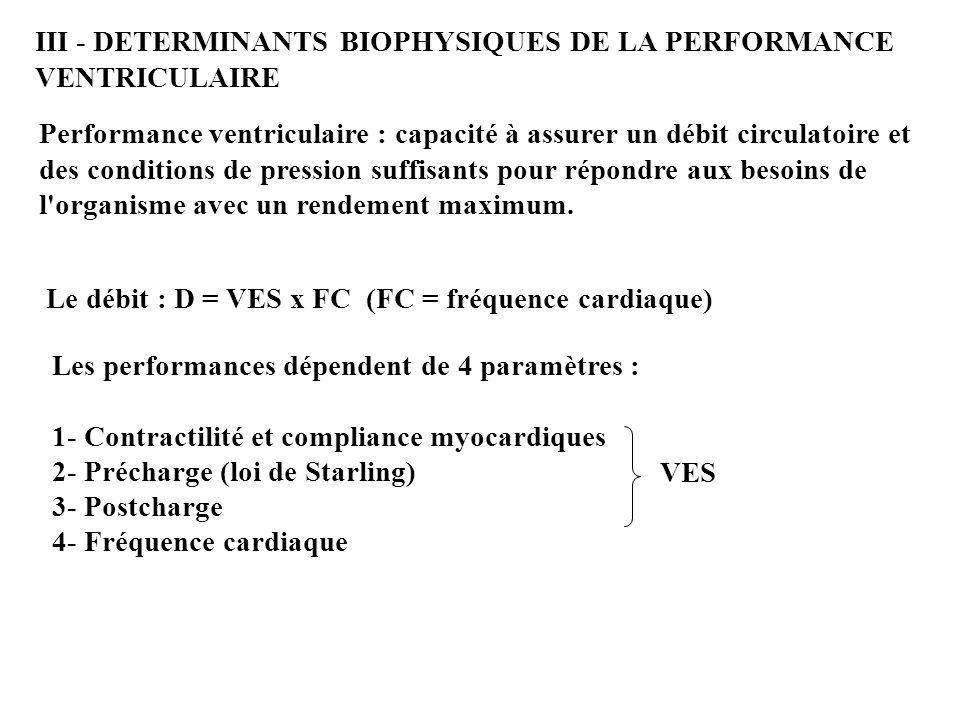 III - DETERMINANTS BIOPHYSIQUES DE LA PERFORMANCE VENTRICULAIRE