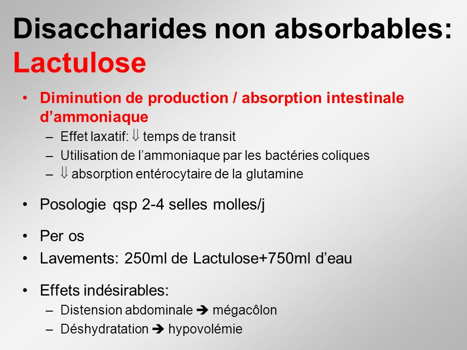 Disaccharides non absorbables: Lactulose