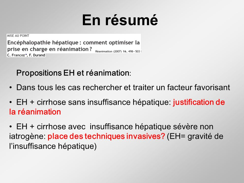 En résumé Propositions EH et réanimation: