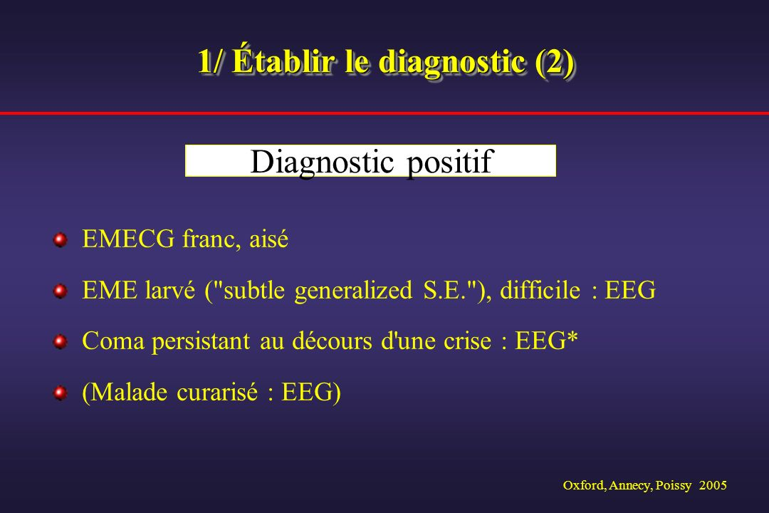 1/ Établir le diagnostic (2)