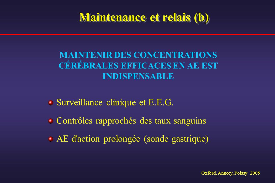 Maintenance et relais (b)