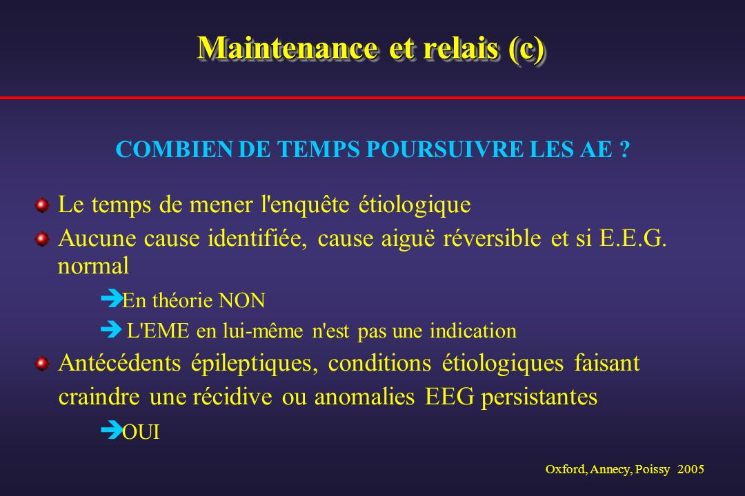 Maintenance et relais (c)