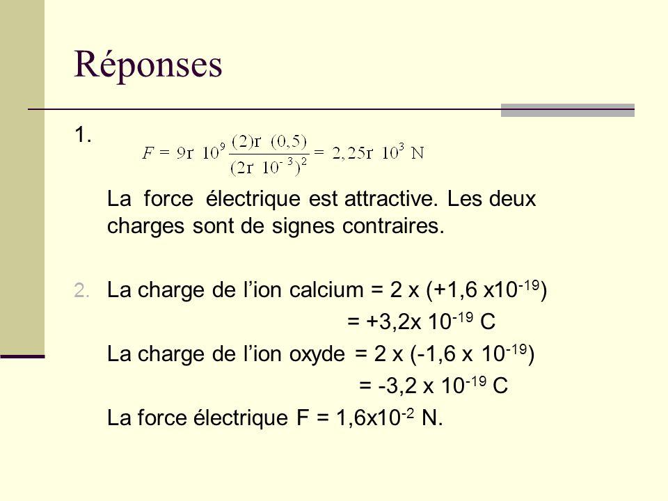 Réponses 1. La force électrique est attractive. Les deux charges sont de signes contraires. La charge de l'ion calcium = 2 x (+1,6 x10-19)