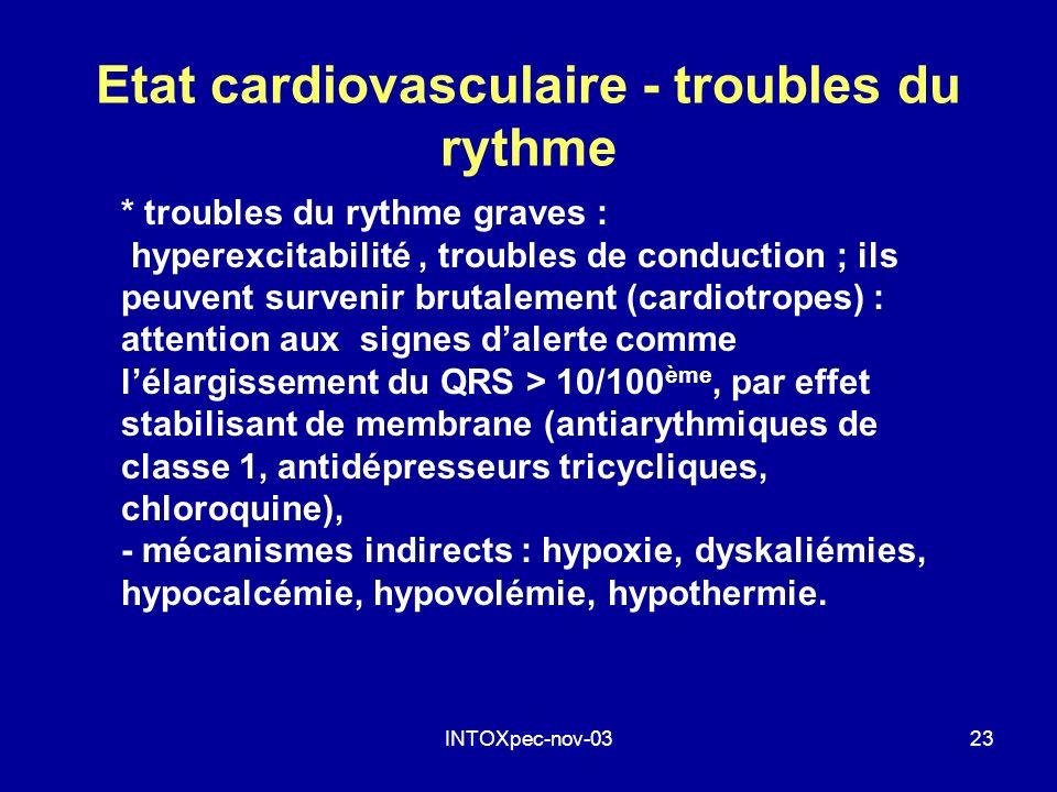Etat cardiovasculaire - troubles du rythme