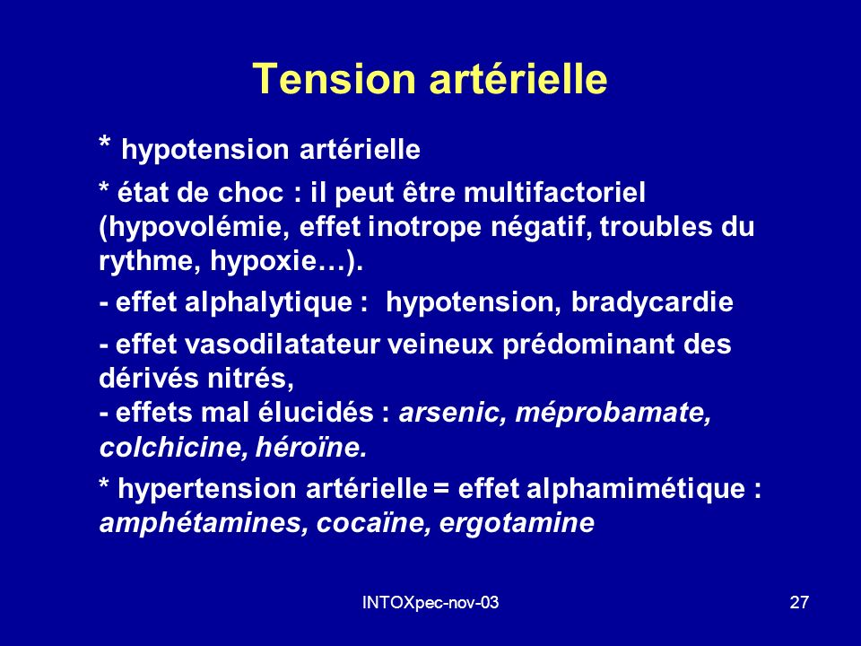 Tension artérielle * hypotension artérielle