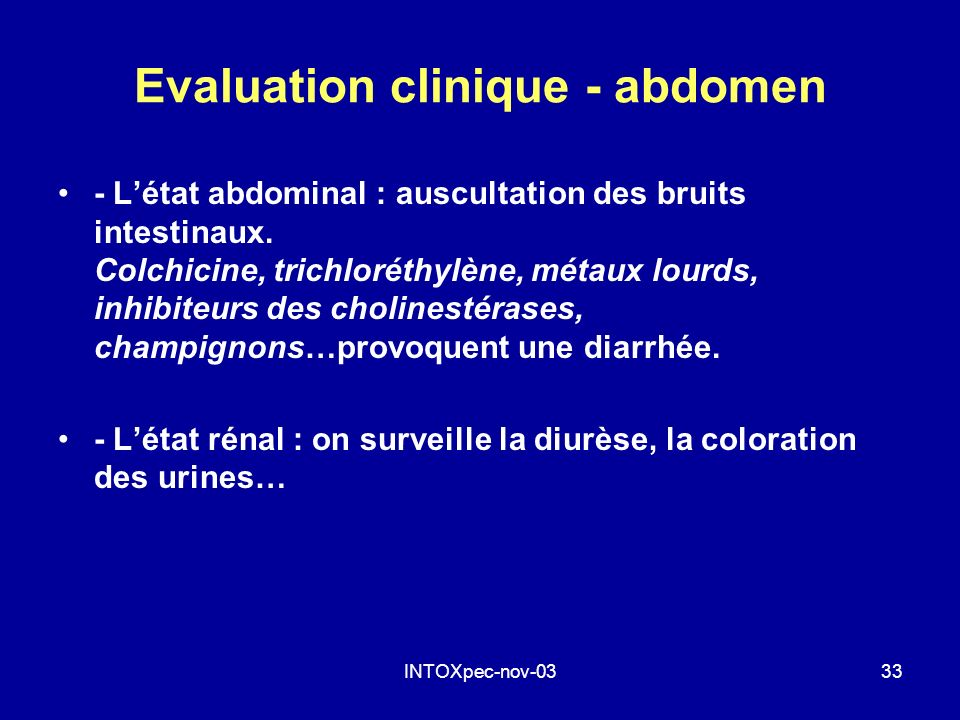 Evaluation clinique - abdomen