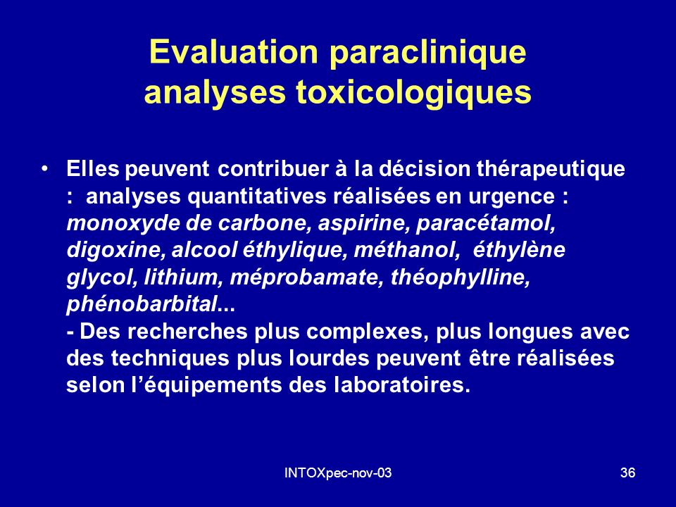 Evaluation paraclinique analyses toxicologiques