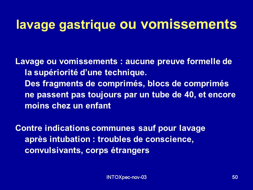 lavage gastrique ou vomissements