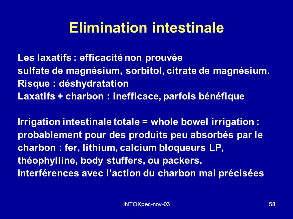 Elimination intestinale